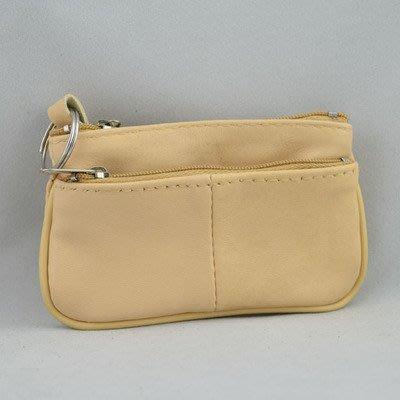 一級棒    羊皮零錢包 簡約純色 皮夾 鑰匙包 悠遊卡 包 夾 隨身包 淺黃 小