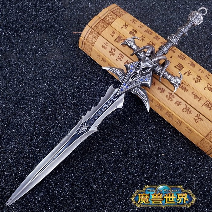 魔獸世界 霜之哀傷 金屬巫妖王金羊頭劍(贈送刀劍架)