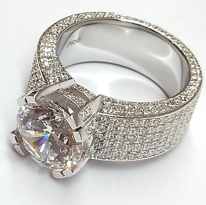 最新5克拉豪門男戒鑽戒真全滿鑽滿天星925純銀鍍鉑金指環 鑲嵌高碳鑽戒指極光火彩鑽戒高碳媲美真鑽石肉眼難辨莫桑石ZB鑽寶