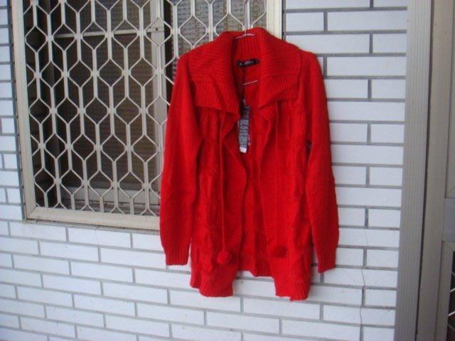 ~ob針織外套毛線外套毛衣外套長版 紅色.杏