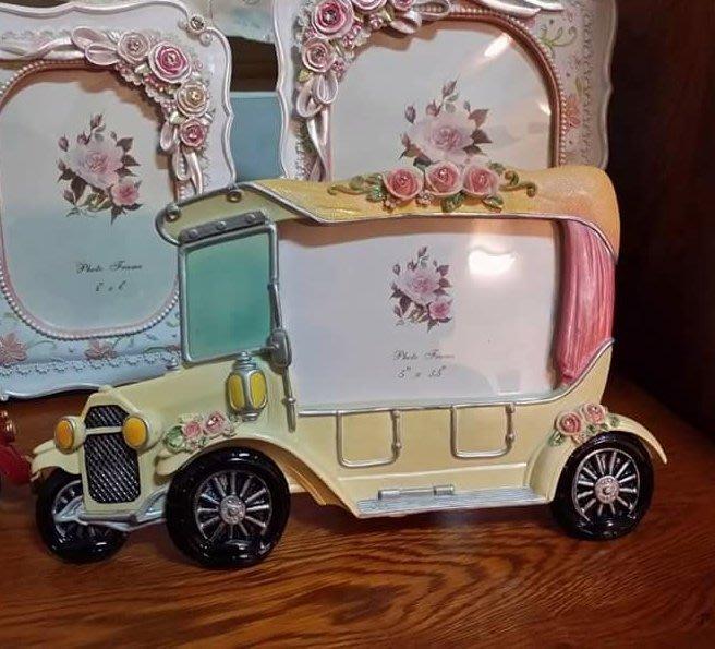 美生活館 全新 鄉村 古典 玫瑰花 車子造型  4 × 6 相框 店面 拍照 婚紗照片 記憶保留 回憶-10