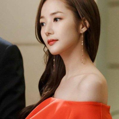 *Miss Ha Ha*E297韓.金秘書系列 垂墜長款水鑽耳環(純銀針).現貨180812
