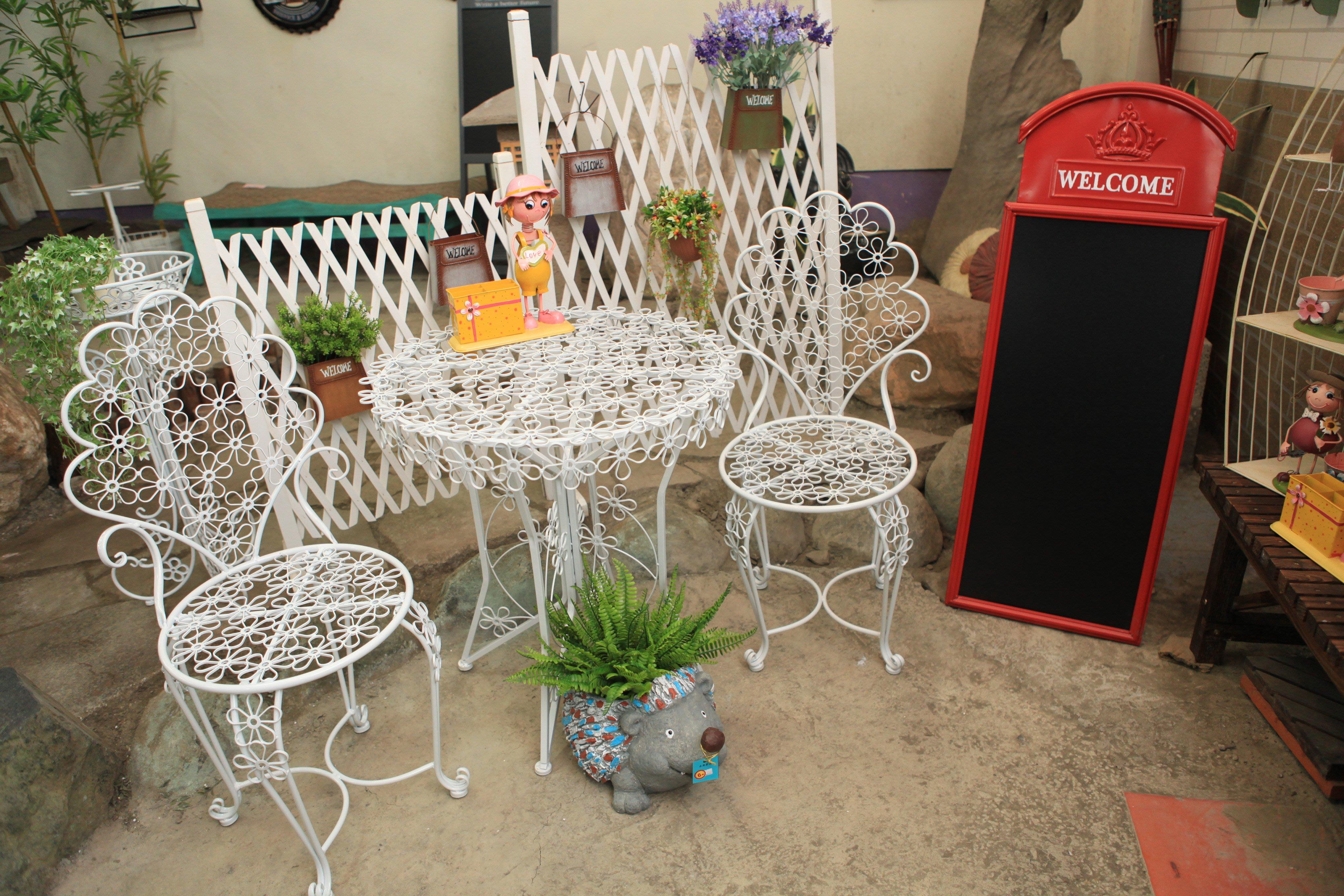 花朵桌椅組 1桌2椅 休閒桌椅 白色花朵桌椅 庭園{永美家具}