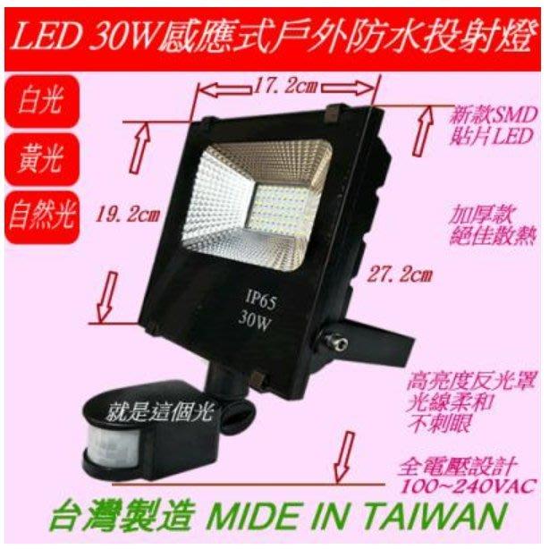 LED 30W紅外線感應式戶外投射燈 高亮足瓦 照明燈 車庫燈 廣告招牌燈另有10W/20W/50W/100W