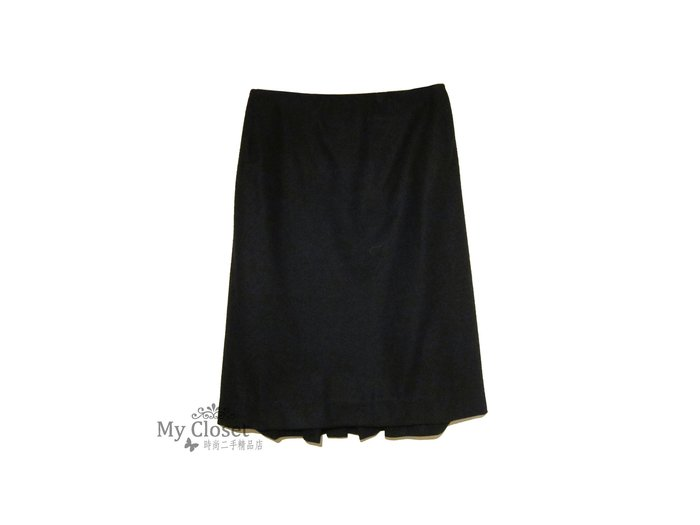 My Closet 二手名牌 Hermes黑色毛料及膝裙