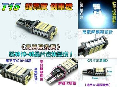 《日樣》超亮500流明 T15-4014/4014 45晶SMD/LED 倒車燈 帶解碼密集芯片組合不分極性 倒車燈泡