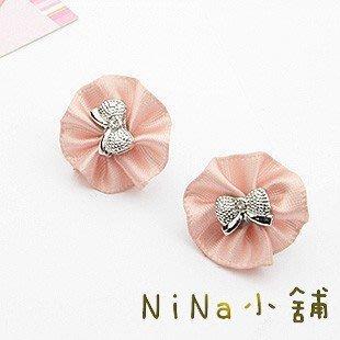 NiNa小舖【Q042C4】韓國Candy Girl精緻銀色蝴蝶結百摺皺圓型花朵耳釘(金色/銀色)現貨