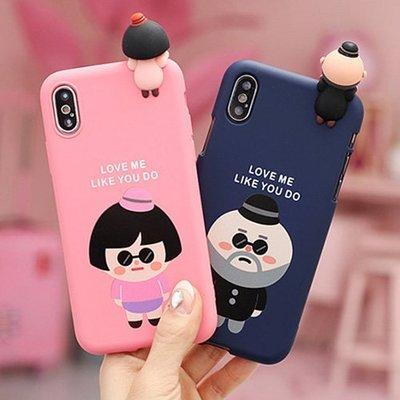 韓國 大叔&女孩 公仔軟殼 手機殼│iPhone 5S SE 6/6S 7 8 Plus X│z8318
