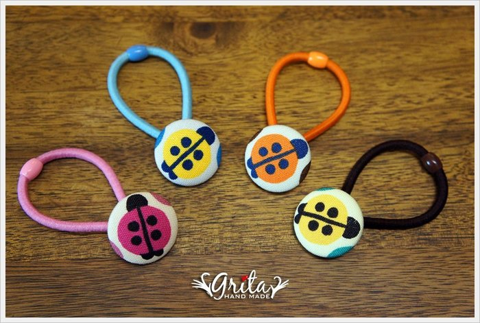 ♥grita's handmade♥布釦髮束╱髮帶╱髮飾╱可愛瓢蟲╱大人小孩都適合—小瓢蟲(現貨商品4款)