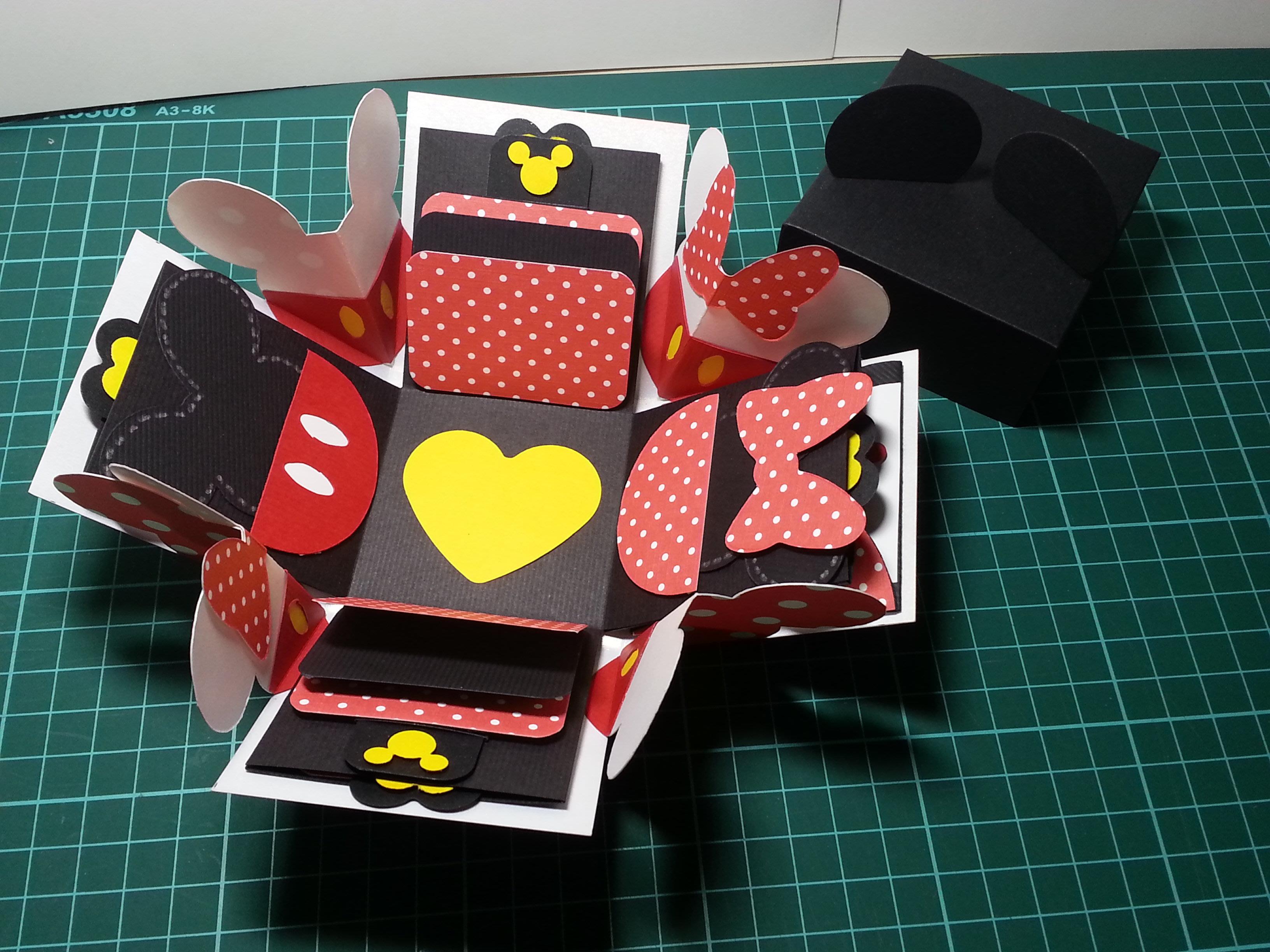 [材料包]米奇,米妮禮物盒,手作卡片,爆炸禮物盒,機關卡片