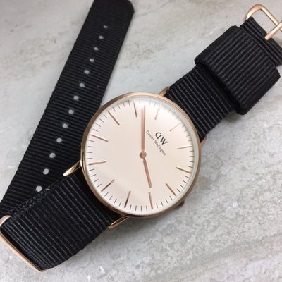 錶帶屋『代用』DW同尺寸各錶款黑色尼龍...