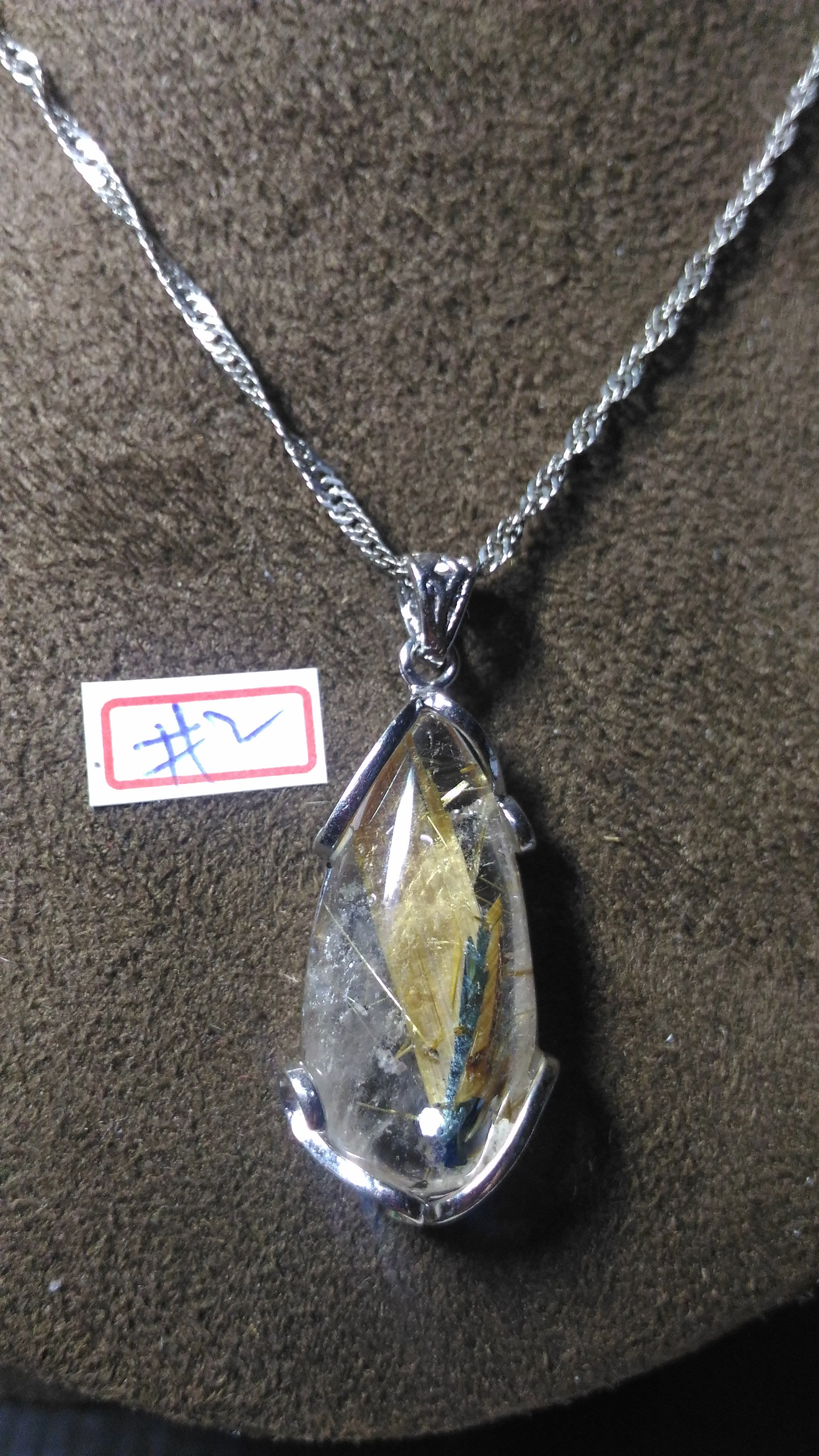 鈦晶項鍊~帶母礦~粗板絲~#2