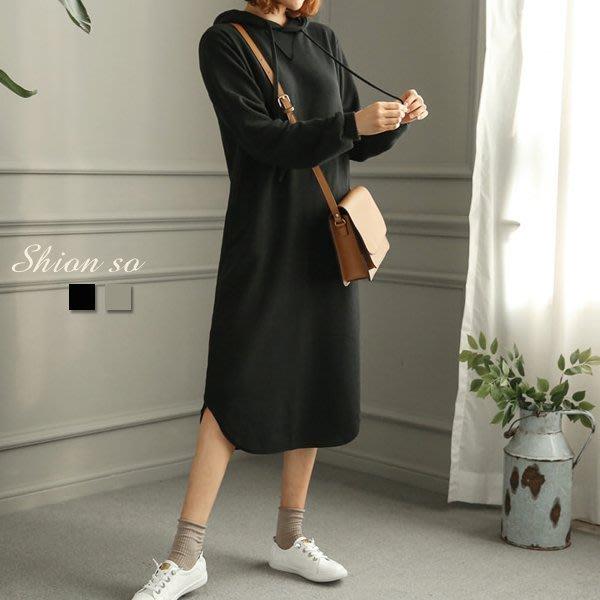 享瘦衣身中大尺碼【B1236】弧形下擺連帽連衣裙