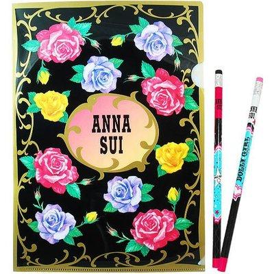 【∮魔法時光∮】ANNA SUI 安娜蘇 經典薔薇文件夾/檔案夾+DOLLY GIRL鉛筆組(2支)