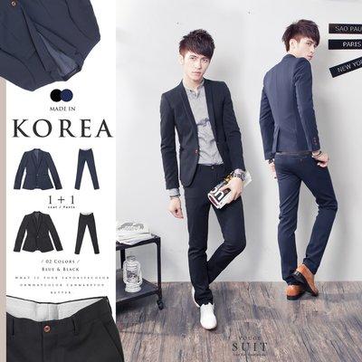 。SW。【K31145】免運 正韓 韓國製 修身顯瘦 質感 硬挺彈性西裝布 木扣 窄版 雅痞紳士 素面成套西裝 藍/黑