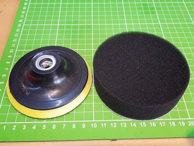 4吋黃色4吋自黏式橡膠磨盤(魔鬼氈)-牙口為M10(標準牙)+ 黑色(魔鬼氈)-海綿 約4吋約10公分直徑) 各X1