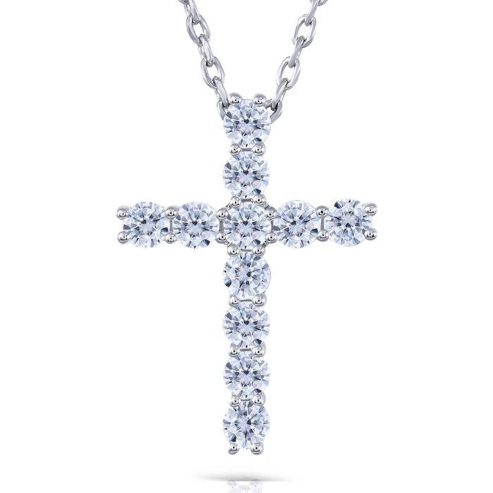 十字架項鍊不扯頭髮微鑲高碳鑽吊墜女款 大品牌款式設計飾品 精工爪鑲視覺超美純銀鍍鉑金莫桑鑽寶歡迎18k金訂做