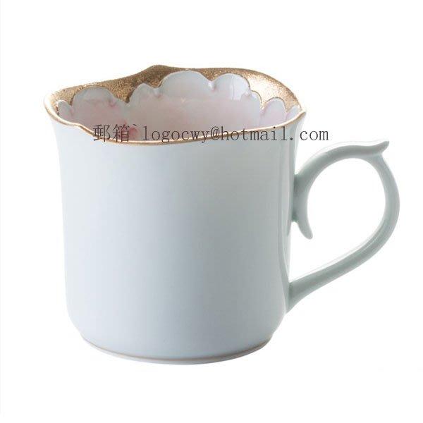 【家飾 裝修店】  日本進口有田燒文山窯手繪牡丹系列陶瓷馬克杯咖啡杯水杯