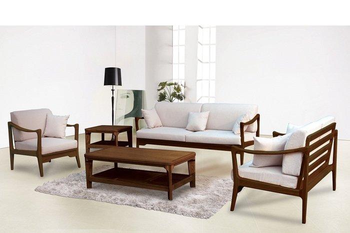 【DH】商品貨號n685-A稱《維爾》胡桃色1.2.3木製沙發組(含大小茶几)備有原木色主要地免運費