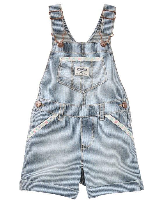 妙寶貝♡OshKosh 胡桃木條紋花邊口袋短袖吊帶褲(3T/4T)另有Carter、Gymboree、Crazy8