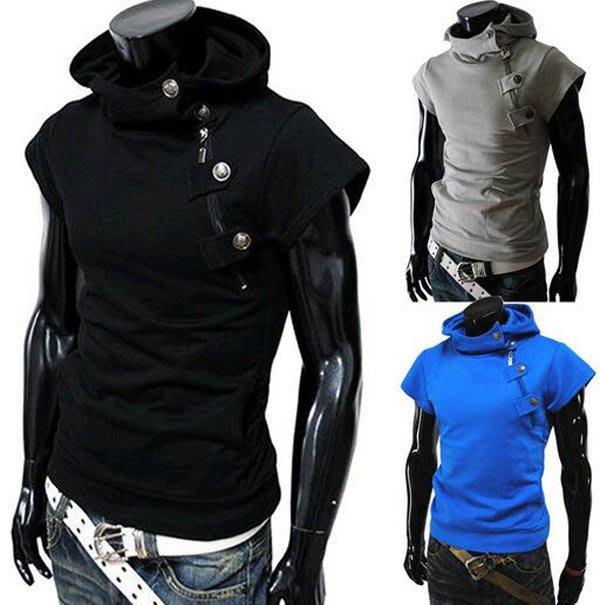 連帽短袖T恤 簡約 純色 右側拉鏈個性設計男士短袖上衣
