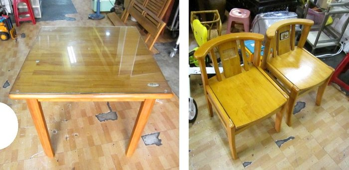 ㊖華威搬家=更新二手倉庫㊖中古實木餐桌椅方桌餐椅(一桌2椅) 收購回收餐飲設備家具家電辦公傢俱