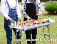 【不銹鋼烤肉架木炭燒烤架5人以上便攜烤肉箱全套-長寬高 73*33*71CM-1套/組-套餐3】-76038
