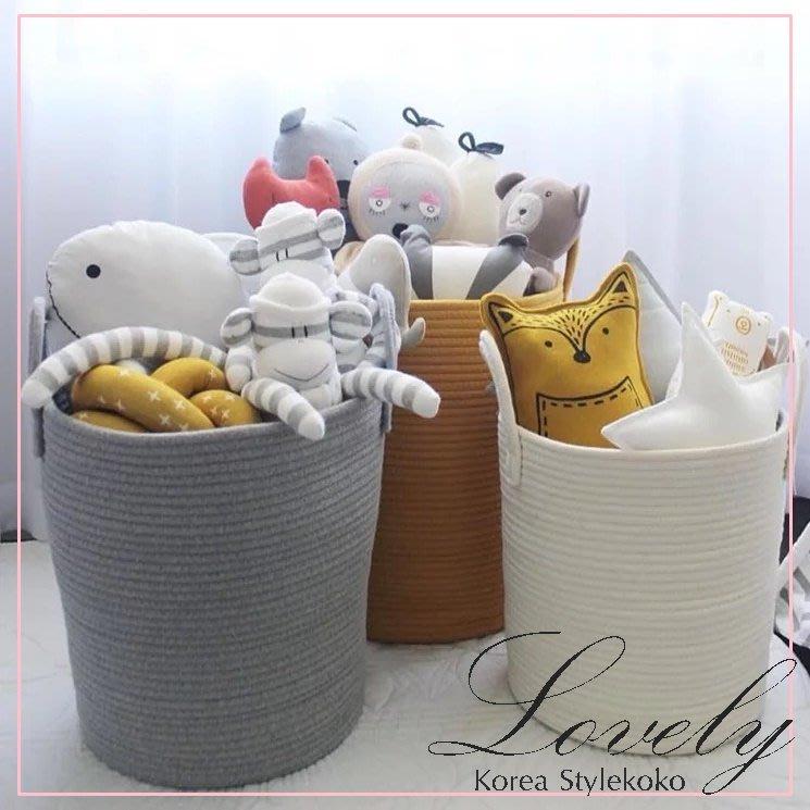 Sisterxoxo [小款收納籃] 歐美 韓國 北歐兒童房 純色棉織品萬用收納籃 玩具收納 被子收納 地墊 地毯