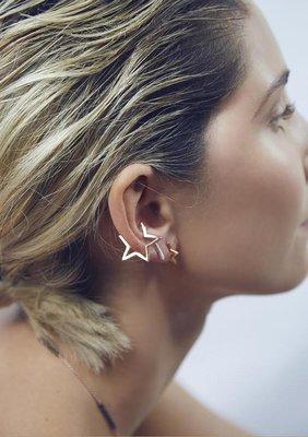 【小么杂货】无需耳洞几何镂空星星造型耳环 耳骨夹 耳夹 男女中性饰品 2色(现货)A004下+010(1)安朵