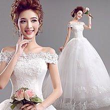 【鑽石娃娃】2017 韓式優雅新娘蕾絲一字肩修身齊地公主婚紗禮服 YD128