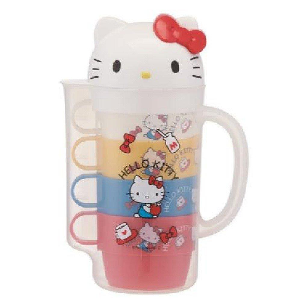 【現貨】【Wendy Kids】日本進口 KITTY 塑膠造型冷水壺+4入塑膠杯組