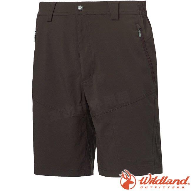 Wildland 荒野 0A61358-48深墨綠 男彈性抗UV機能短褲 彈性延展/輕薄透氣/吸濕快乾/休閒褲*