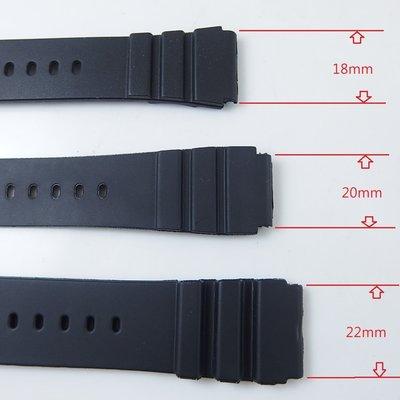 【錶帶家】『便宜超值』22mm 20mm 18mm 柔軟防水 PVC 橡膠錶帶替代CASIO卡西歐等各品牌潛水 運動手錶