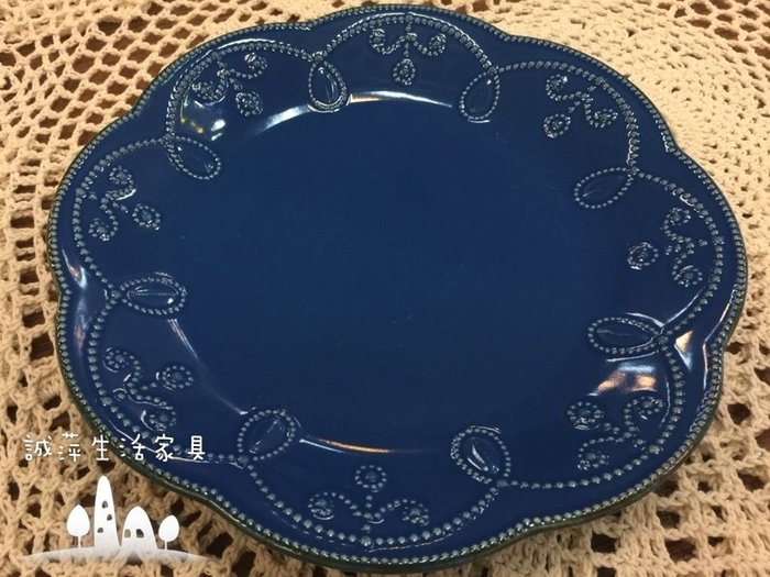 ~誠萍~鄉村雜貨 歐式 浮雕蕾絲午茶盤 蛋糕盤 點心盤 LENOX浮雕小圓盤 展示盤 下午