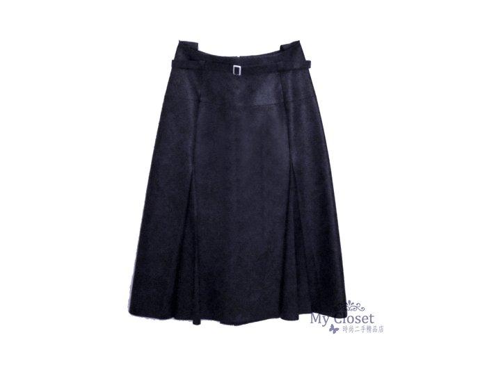 My Closet 二手名牌 CELINE 全新深藍色高腰A-LINE 皮裙