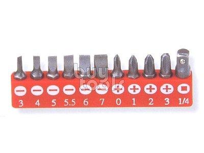 台灣工具-《專業級》綜合起子頭/一字起子頭3~7mm/十字起子頭PH0~PH3/起子轉套筒接頭/附收納夾/11支《含稅》