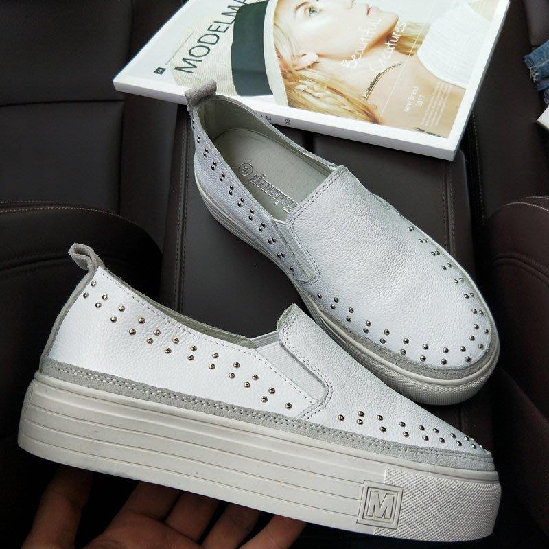 『真皮世家』新款真皮厚底鞋單鞋鉚釘牛皮鬆糕鞋增高懶人鞋休閑百搭女鞋