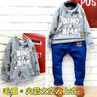 【班比納精品童裝】微彈毛圈太空熊手繪塗鴉英字上衣-灰【BO16101313】