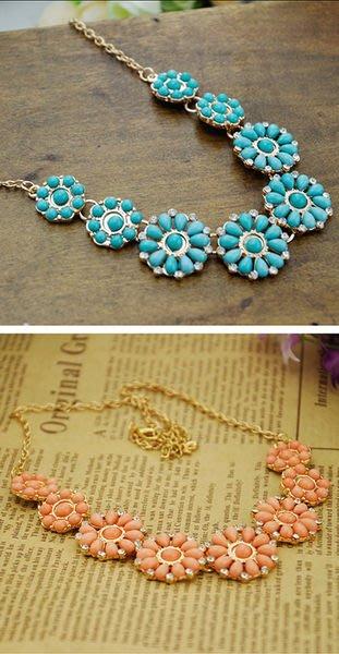 日韓飾品~~韓版波西米亞風格璀璨圓盤寶石鑲鑽項鍊