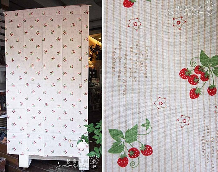 門簾風水簾--印度進口鄉村風純棉草莓字母一片式長門簾-100*180cm--秘密花園