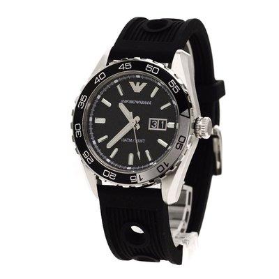 ARMANI 阿瑪尼男性三眼六針帶日曆硅膠錶帶石英腕錶AR6044(水鬼系列)