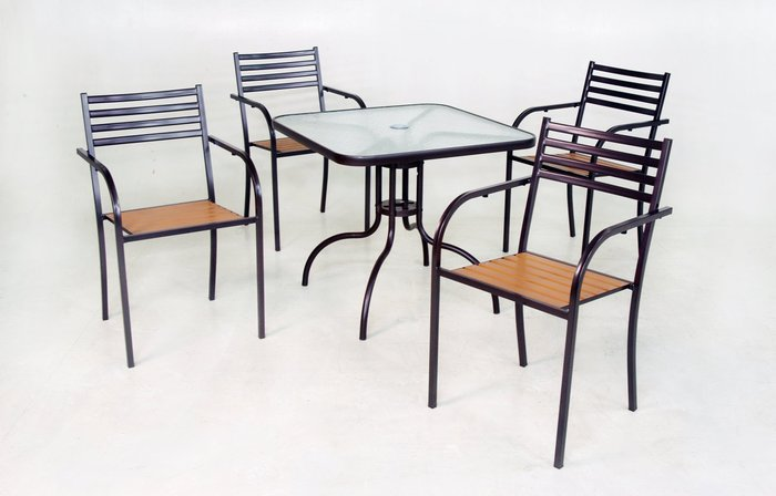 [兄弟牌戶外休閒傢俱] 塑木椅4張+80CM玻璃方桌組~7-11椅款~餐飲營業或自用陽台公園,堅固耐久用好維持。