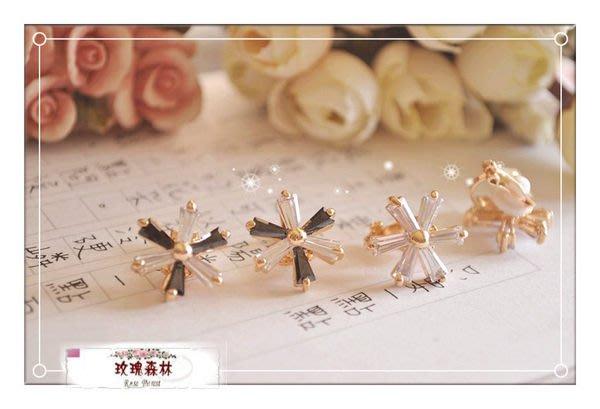 玫瑰森林-- ☆°高質感女孩  ~ 高貴典雅 鋯石花朵  耳夾式 無耳洞耳環 (黑白鑽花)