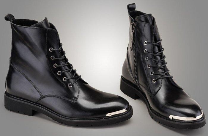 秋冬新款英倫牛皮商務正裝皮靴 系帶尖頭男靴 真皮靴短筒靴牛仔靴OM
