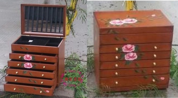 美生活館---全新鄉村彩繪 粉紅玫瑰掀門五抽木色 珠寶盒 珠寶盒/收納箱/手飾櫃--入宅店面 拍照 戒子項鍊耳環收納