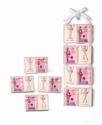 """芭蕾小棧生日畢業表演出禮物美國粉紅舞鞋舞者四張合一陶瓷相框可放2 x 3""""相片四張"""