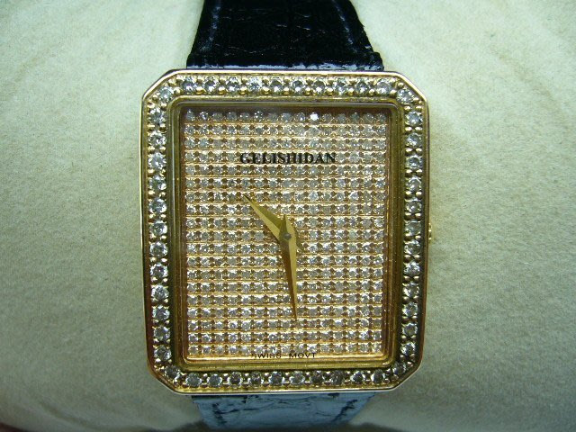 [吉宏精品交流中心]GELISHIDAN 格黎斯丹 18黃K金 石英 滿天星 鑽錶