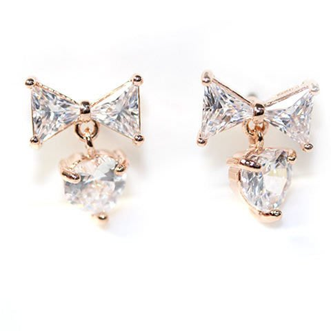 NATELA 韓國設計 閃亮鋯石 + 蝴蝶結 愛心造型  耳釘 耳飾 鍍金 美麗甜心氣質耳飾 女朋友禮物 熱銷