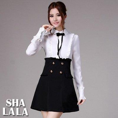 SHA LA LA 莎菈菈 韓版襯衫領蝴蝶結荷葉邊氣質連衣裙洋裝(S~XL)2018072821預購款