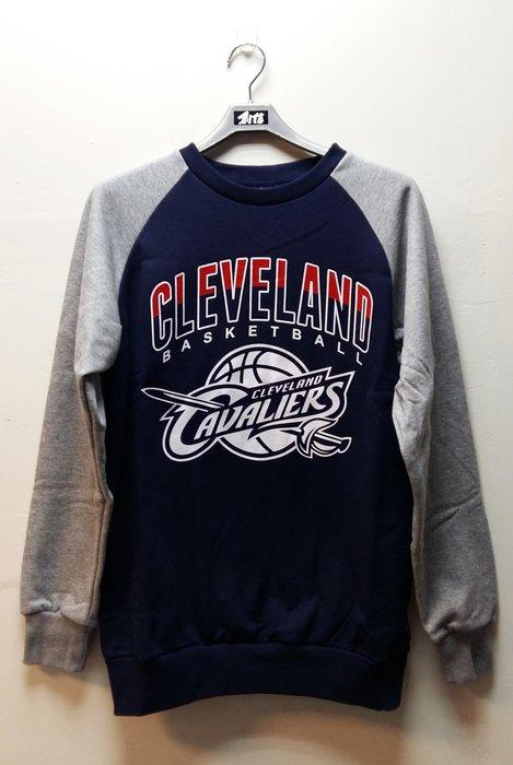 2015  NBA 美國職籃 騎士隊徽LOGO印花圓領雙色長袖刷毛厚棉T 深藍